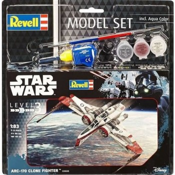 STAR WARS ARC-170 CLONE FIGHTER (set con pintura,pegamento y pincel) E1/83