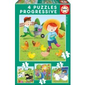 PUZZLES PROGRESIVOS ANIMALES DE LA GRANJA 6+9+12+16